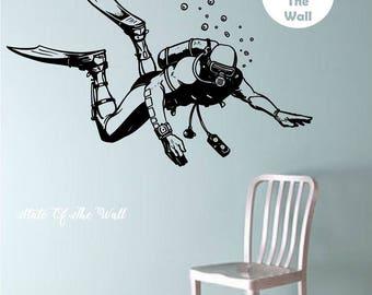 Scuba Diver Vinyl Wall Decal Sticker Art Decor Bedroom Design Mural