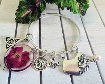 Pressed Flower Bracelet Tree of Life Bangle with Charms Bride Red Rose Bracelet Celtic Knot Charm Bracelet Silver Plated Charms Wedding Gift
