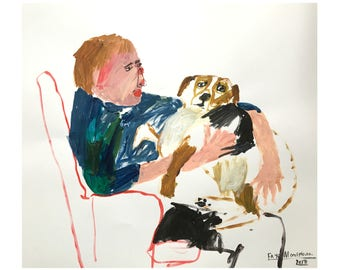 Original Faye Moorhouse painting - Man and Dog on a Chair - free international shipping