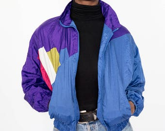 80s Vintage Blue and Purple Classic Bomber Jacket