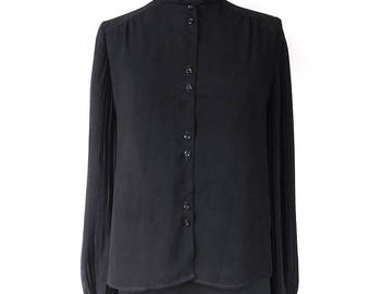 1980s Sheer Black Long Sleeve Blouse with Mandarin Collar, Pleated Sleeves, Cuffs - Small - Vegan