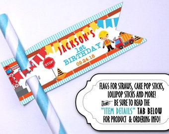 12 Flags for Straws, Suckers or Lollipop Sticks, Cake Pop Sticks, Construction Theme, Builder, Dump Truck,Crane, Birthday Party, Baby Shower