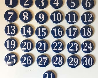 Navy Blue and White Monthly Calendar Magnets - Days of the Month - Perpetual Calendar - numbers 1-31