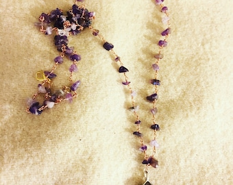 Amethyst Rosary Style Necklace