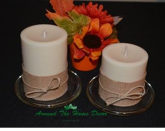 Burlap Accented All Natural Soy Pillar Candles, Vegan Pillar Candles