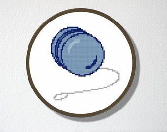 Counted Cross stitch Pattern PDF. Instant download. Yo yo. Includes easy beginners instructions.