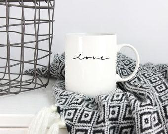 Aime une tasse de café | 11 onces tasse à café | Art minimaliste | Cadeaux de la Saint-Valentin | Cadeaux pour elle