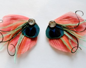 SADIE in Coral, Mint, Shrimp, and Pink Peacock Feather Hair Clip, Feather Fascinator