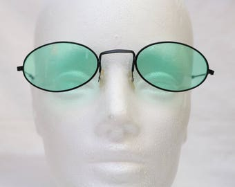 """Rare 90's Vintage """"WINTERGREEN"""" John Lennon Style Oval Sunglasses With Green Colored Lenses"""