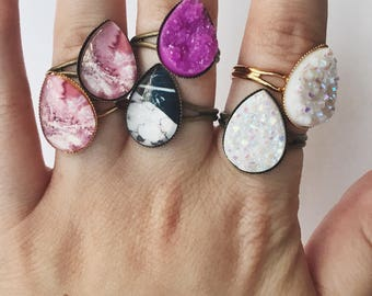13x18 Druzy & Marble rings (1pc)