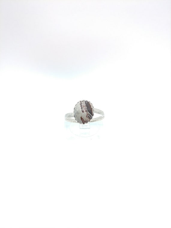 Simple Crazy Lace Agate Ring | Sterling Silver Ring Sz 6.5 | Laughter Stone | Banded Agate | Striped Stone | Stone of Happiness | Crazylace