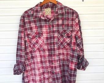 XXLARGE - Flannel Shirt - Bleached - Vintage Washed Flannel - Oversized Flannel - Distressed Flannel - Plaid Shirt - Fall Shirt - #119 BM