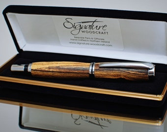 Handmade Wooden Rollerball Pen in Exotic Woods - Made in N. Ireland - Birthday, Graduation, Anniversary, Retirement, Executive Gift (TYC-RB)