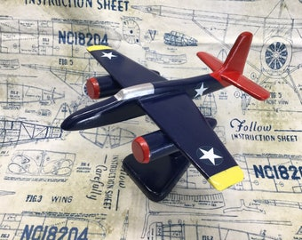 Handcrafted wooden Grumman F7F Tigercat toy plane