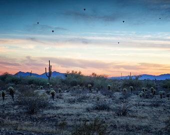 "Nature Photography-  ""Hot Air Balloons Outside Phoenix at Sunset"" - landscape photography, Arizona, saguaro cactus. sunset - unframed Print"