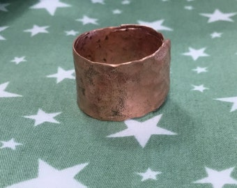 Copper ring.Hammered copper ring with pattern.Adjustable Viking ring.mens copper ring.steampunk ring.Gifts for him. Dainty copper ring.