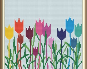 Tulips Modern Cross Stitch Pattern PDF Chart Silhouette Cross Stitch Colorful Design