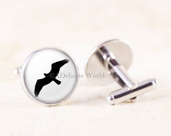 Silver Osprey Cufflinks, Minimalist Jewelry for Men, Black and White Accessories, Nature Gift for Husband, Bird Cuff Links