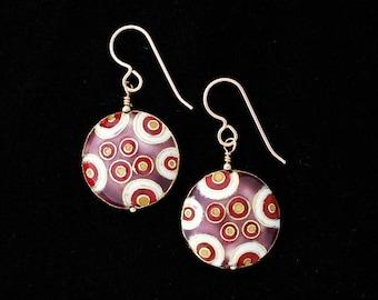 Cloisonne Disc Earrings