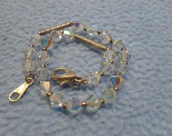 "Bicone Crystal Bead Bracelet- 7.25"" long Sparkling!"
