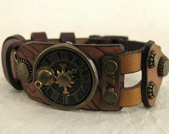 494 Steampunk Sundial Burning Man Boho Industrial Bracelet