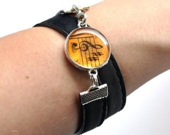 Musician Teacher Gift, Music Bracelet, Resin Jewelry, Music Lover Gift Idea, Music Art, Wrap Bracelet, Black Bracelet, Everyday Bracelet