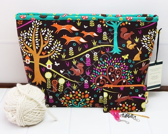Yarn Project Holder - Knitting Project Bag - Crochet Project Bag - Yarn Tote Bag - Knitting Wedge Bag - Michael Miller - Gift for Knitter