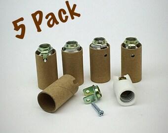 5 Pack - Porcelain Candelabra Light Sockets - High Heat Glass Insulator Sockets - Lamp Part E12