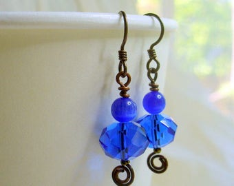 Blue Crystal Earrings, Womens Jewelry, Antique Brass, Blue Earrings, Gift For Her, Present for mom, Jewelry for Her, Handmade, Gift for Her