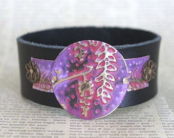 Cuff Bracelet, Leather Bracelets for Women, Leather Cuff Bracelets, Vintaj Jewelry, Purple Jewelry, Bracelet, Wisteria, Boho Jewelry