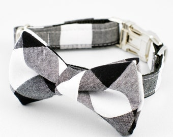 Bow Tie Dog Collar - Large Black Gingham