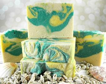 Bamboo & Grapefruit sea salt soap/salt bar/goat milk soap/homemade soap/gift women/wholesale soap/soap favors/sea salt scrub bar