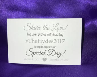 Social Media Hashtag Wedding Signs - Tented Cards