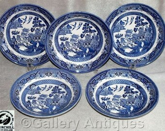 "Five Vintage Churchill Blue & White Willow Pattern 8"" Coupe Soup Bowls c.1980's (ref: L130-040212)"