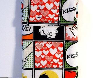 Large cell phone case - Love comic - Gadget pouch - Sunglasses case - Pop style - Retro - Smartphone case - Music player case - Pouch