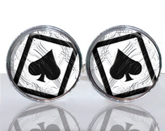 Round Glass Tile Cuff Links - Ace of Spades CIR145