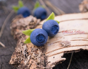 SALE The Blueberry earrings Cold porcelain berries Realistic berry studs Rustic jewelry Leaf studs Forest jewelry Christmas gift