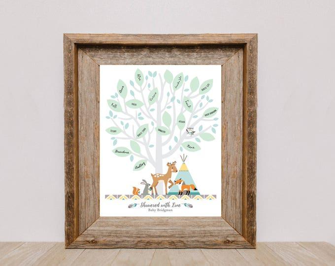 Signature Leaf Tree Guestbook - Woodland Baby Shower / Baby Shower Decor / Gender Neutral / Guestbook Wall Art / Tepee, woodland animals