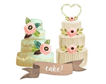 cake clipart, wedding clipart, watercolor wedding clipart, watercolor cake clipart, wedding invites, wedding decor