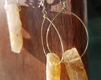 Citrine Chunk Necklace and Earrings Set