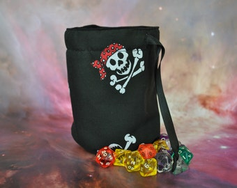 Dice Bag Pirate Skull and Crossbones design large, unique, Handmade and fully lined
