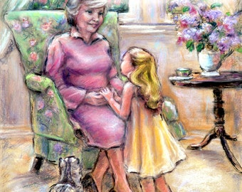 PERSONALIZED custom art print, Message, haircolor, names added,  Grandmother and child  'Tell Me Again, Grandma' Laurie Shanholtzer