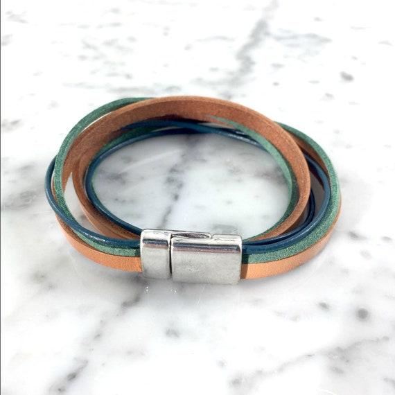 Leather, magnetic, magnet, bracelet, blue, brown, green,  choker necklace, magnet, les perles rares