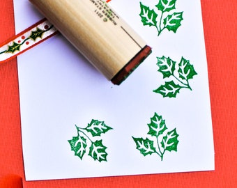 Jumbo Holly Leaf Rubber Stamp
