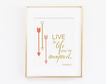 Kids Inspirational Art Print, Motivational Art Quote - Live the Life You've Imagined, Thoreau Art Quote - Office Wall Decor, Home Art Print