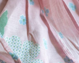 Vintage Apron, Pink and Blue Flowers with Ribbons, 1950's Pastel Half Waist, Mid Century Kitchen Housewife