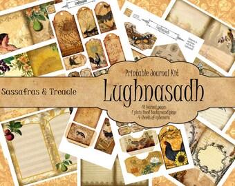 Lughnasadh Digital Journal Kit, printable ephemera,  junk journal kit,