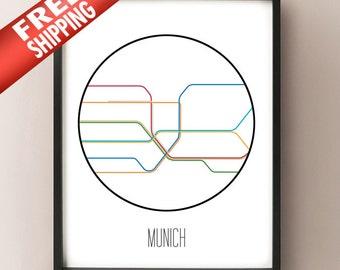 Munich Minimalist Metro - Germany Subway Art Print - München decor