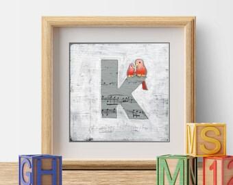 Letter k, Name Art, Nursery Print, Children's Decor, Cute Bird Prints, ABC Letters, Bird Illustration, Monogram Letters