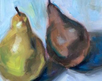 Original Oil Painting, pears, still life, kitchen art, green, white, wall art, small painting, art